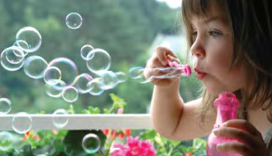 A girl with bubbles